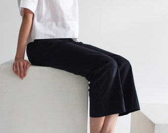 Marin Trousers -crop cotton twill subtly flared pants /sailor pants