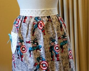 Australian handmade vintage inspired half apron Captain America print with pocket and bow