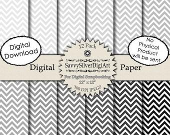 Black & Gray Chevron Digital Paper - Instant Download Chevron Paper, Grey Zig Zag, Scrapbook Invites Cards, Background Paper