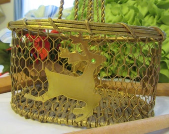 Basket Chicken Wire Reindeer Small Unique Vintage Gold Holiday Decor Handmade Christmas Decor