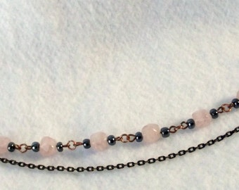 Rose Quartz and Cooper Bracelet with a Chain Accent