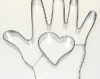 Hand and Heart cookie cutter 4 inches Valentine's Day Pennsylvania Dutch symbol.