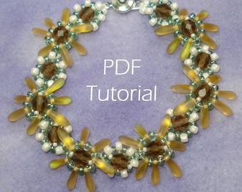 Double Decker Daisy PDF Tutorial (modified daisy chain bracelet using SuperDuos/twins, daggers/Pips, and seed beads)