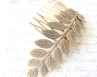 Ox Brass Leaf Branch Hair Comb - Golden Leaf - Woodland Collection - Whimsical - Nature - Bridal