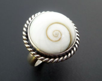 Round Shiva Eye Shell Statement Ring - Handmade Sterling Silver and Shiva Eye Shell Statement Ring - White Shell Ring - Custom Made