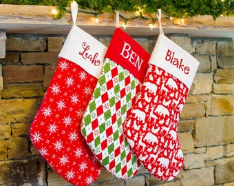 Christmas Stockings for Him, Christmas Stocking for Men, Xmas Stocking, Personalized Christmas Stocking Forshee Designs