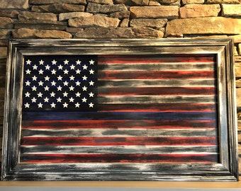 Hand Made U.S Flag with Blue line