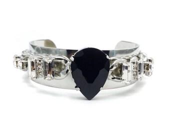 Bohemian cuff bracelet, bohemian jewelry, boho cuff bracelet, black crystal cuff, boho bracelet cuff, bohemian jewelry, bracelet cuff,
