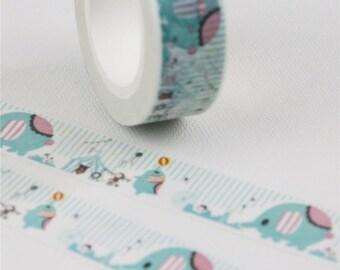 Elephant Washi Tape, Baby Elephant Washi, Circus Themed Tape, Cardmaking Supplies, Crafting Washi