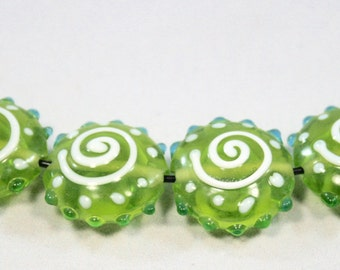 Lampwork Lime Green and White Swirl Puffy With Turquoise Bumps Beads  8 Beads  (9 x 18 mm)