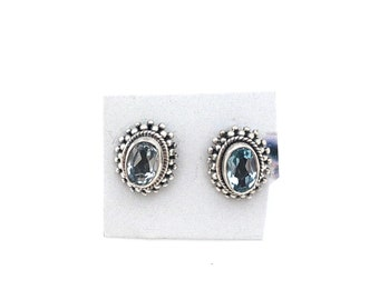 Sterling Silver Oval  Blue Topaz Bali Earrings