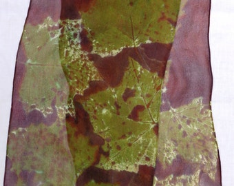 silk scarf chiffon long Sycamore Leaf hand painted brown sage unique chocolate sage green wearable art women
