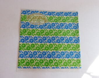 MOD Gift Wrap / Wrapping Paper Flower Power 60s Lime Green & Electric Blue Unused NIP NOS