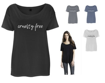 "Organic ""cruelty free"" Oversized TShirt (blue/grey/white/black) VEGAN ETHICAL"