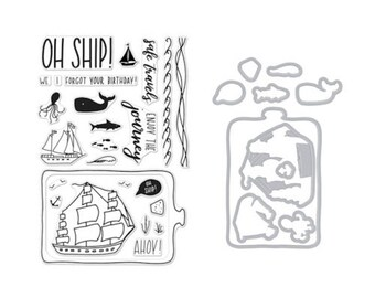 Hero Arts: SB163 Enjoy The Journey Stamp & Die Combo, clear stamp, OH SHIP!, Sail, Enjoy The Journey, scrapbooking, card making, papercrafti