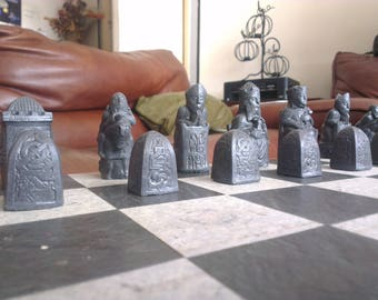 Isle of Lewis inspired Richly Carved Medieval Chess Set in Mellow Ivory and Slate