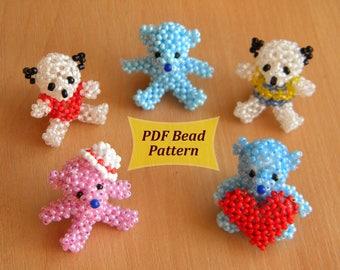 Animal pattern pdf, Beaded bear pdf, beaded teddy pdf, beaded animal pattern, beaded animal tutorial, keychain tutorial, 3d beading animal