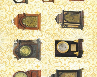 CLOCK Antique COLLAGE Sheet Vintage Clip Art Image Download Printable Graphic Transfers Printing HQ 300DPI