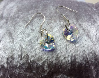 Swarovski AB heart earrings aurora borealis Swarovski crystal elements 925 Sterling Silver or plated Birthday gift for her Bridal bridesmaid