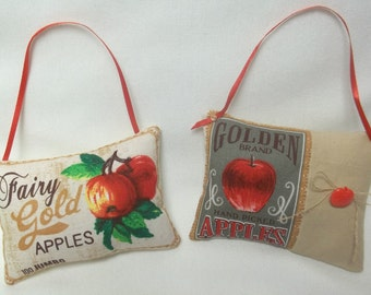 Apple Ornaments  Set Of Two Hanging Mini Pillows, Autumn Fruit, Country Decor