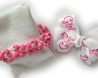 Kathy's Beaded Socks - Daddy's Girl Socks and Hairbow, girls socks, pony bead socks, hot pink socks
