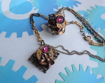 """Steampunk jewelry. Parure: Necklace + ring """"Vintage""""."""