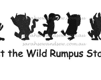 Wild Rumpus Silhouette (Where the Wild Things Are) Embroidery Design