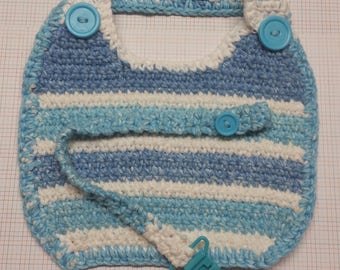 Handmade Bib with Pacifier Holder ~~~Blue/White~~~Cotton yarn FREE SHIPPING