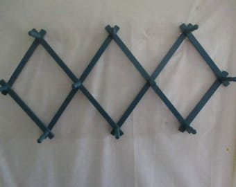 Teal Accordion Wood Peg Rack To Hold So Many Things, Large Aqua