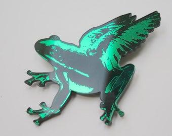 Flying frog brooch