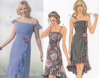 Free Us Ship Sewing Pattern Butterick 4449 Shirred Ruche Strapless Cocktail Dance Dress Size 6 8 10 12 Bust 30 31 32 34 Uncut Out of Print