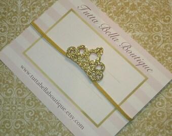 Gold Tiara Headband, Gold Crown Headband, Baby Tiara Headband, Swarovski Crystal Crown, Toddler headband, Newborn Headband