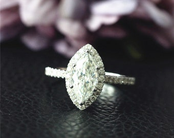 Solid White Gold Engagement Ring 14K Charles & Colvard Marquise Moissanite Engagement Ring Wedding Ring Anniversary Ring Stack-able Ring