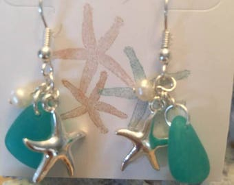 Antique Silver Seaglass Inspired Starfish Earrings.Coastal Seaglass Earrings,Starfish Pearl drop dangle Earrings,