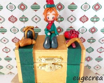 Green and gold box with polymer clay Christmas Elf