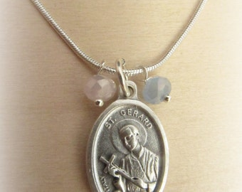 Fertility jewelry saint gerard patron saint of conception saint gerard patron saint pregnancy childbirth motherhood necklace reversible our lady of perpetual help aloadofball Image collections