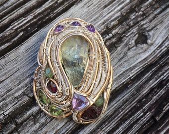 Multi-stone wire wrap pendant - .925/.999 silver, & 14/20 goldfill