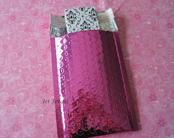 25 Metallic Mailers, Hot Pink Bubble Mailers, Shipping Envelopes, Shipping Mailers, Mailing Envelope, Padded Mailers, Poly Mail Bags 4x8