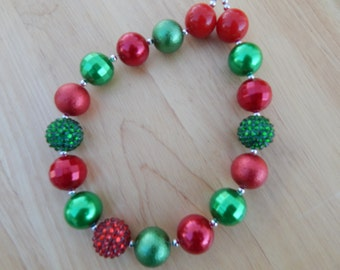 Christmas Necklace Little Girls Christmas Necklace Little Girls Red and Green Necklace
