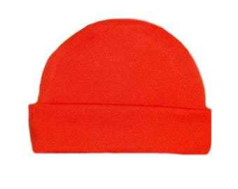 Orange Capped Baby Hat. 100% Cotton Knit. Double Thick with a Built in Cap to Stay on Baby's Head. Preemie, Newborn Sizes to 6 Months