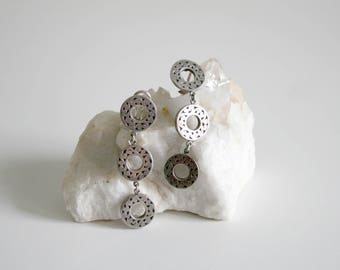 Mexico Taxco Sterling Circle Drop Clip Earrings