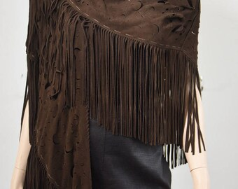 Genuine Suede Leather Shawl in Brown