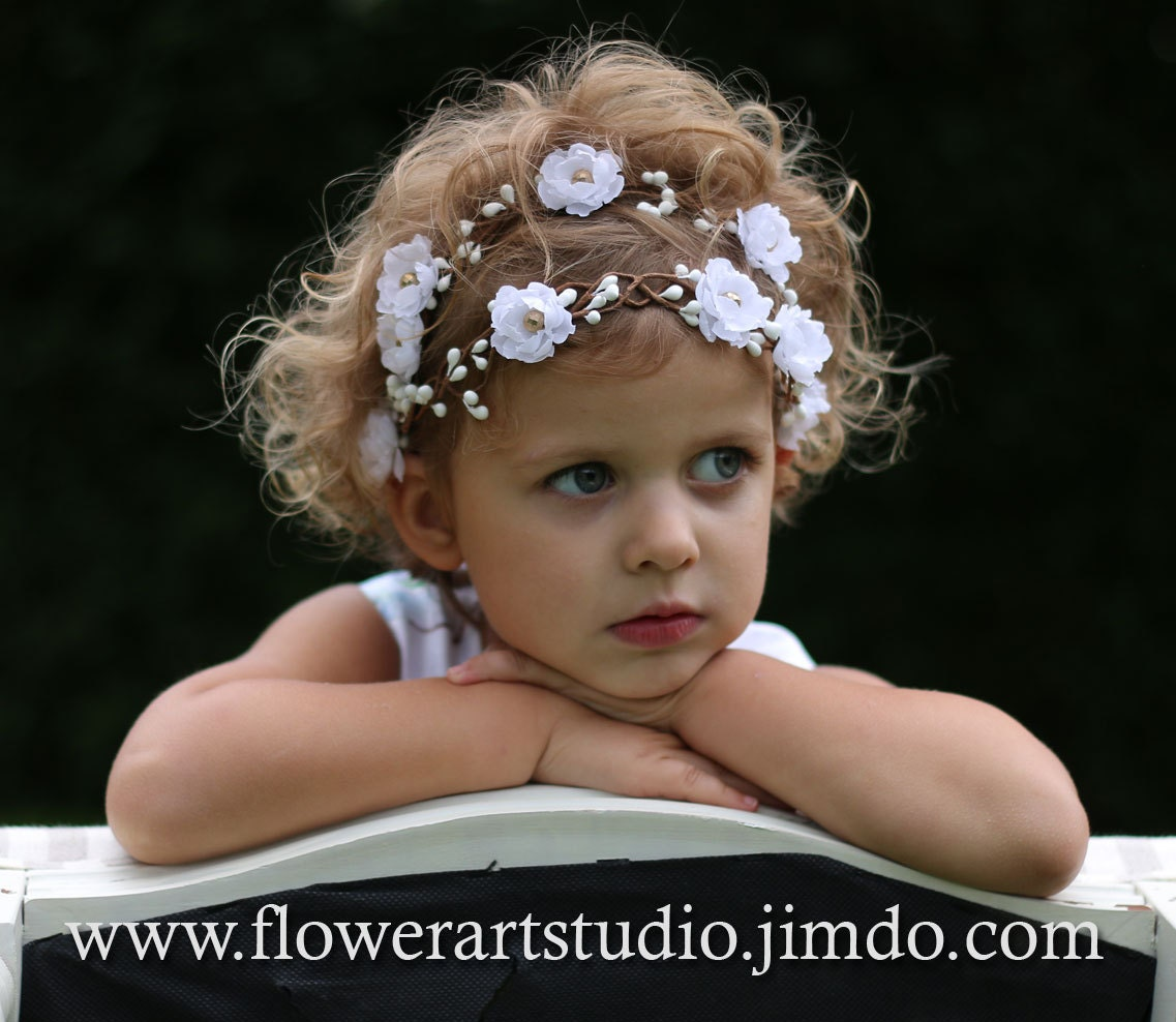 White flower girl crown girl woodland flower crown baby zoom izmirmasajfo Gallery