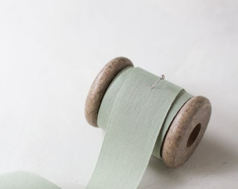 """Sage Green Tight Weave Cotton Ribbon (with Wooden Spool) - 5 yards - 1.5"""" wide"""