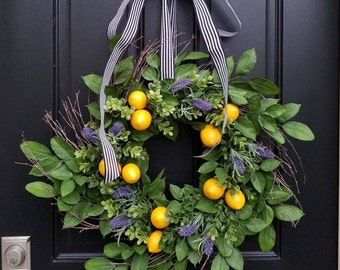 Spring Wreaths, Lemons Wreath, Yellow Lemons Wreath, Taste of Summer, Boxwood and Lemons, Summer Door Wreaths, Front Porch Wreaths