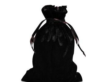 8 Small Black Velvet Drawstring Bags