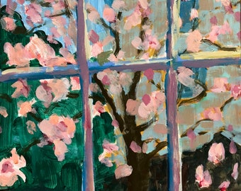 Magnolia tree, original painting from studio window, modern impressionist, acrylic on 10x8 inch 1/8 deep gessobord, christine parker fineart