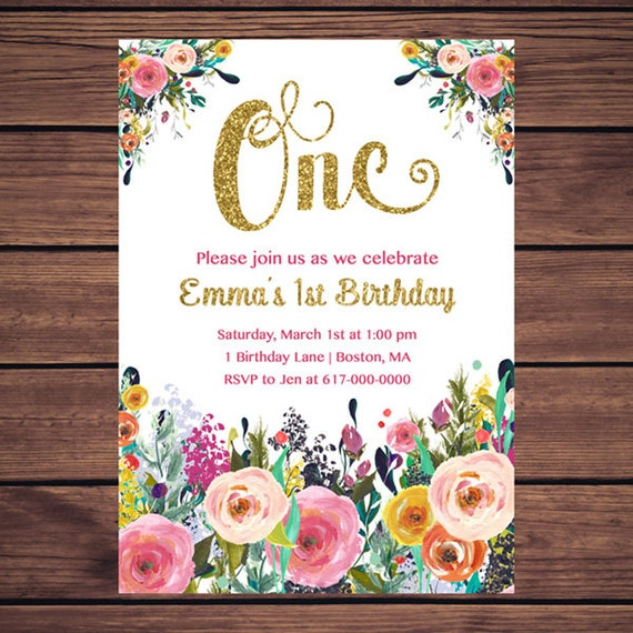 Floral 1st Birthday Invitation Girl Any Age Floral Pink Gold