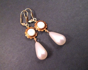 Pearl Drop Earrings, White Opalite Glass and Pearls, Brass Dangle Earrings, FREE Shipping U.S.