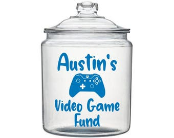 Video Game Fund Decal, Kids Money Jar Decal, Gaming Decal, Savings Jar Decal